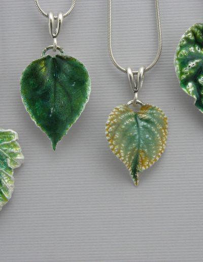 Leaf Pendants - Enamel on Silver